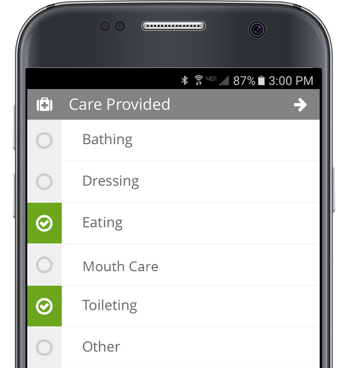 Nurse Call Smartphone App for Tracking Care Provided to Residents